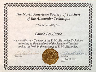 Certified Alexander Technique Laurie Currie teaches in Mahopac, New York